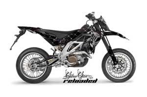 Aprilia SXV 4.5 / 5.5 Dirt Bike Graphic Kit - 2006-2015 Silver Star - Reloaded Black