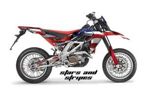 Aprilia SXV 4.5 / 5.5 Dirt Bike Graphic Kit - 2006-2015 Stars and Stripes Red White & Blue