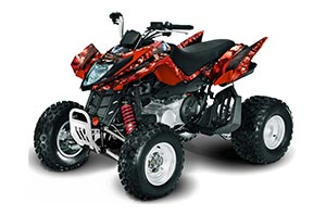 Arctic Cat DVX250 ATV Graphic Kit - All Years Mad Hatter Red