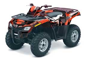 Can Am Outlander EFI 500 / 650 / 800 / 1000 ATV Graphic Kit - 2006-2011 Carbon X Red
