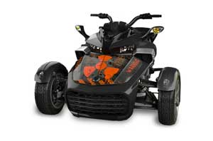 Can Am F3-S Spyder Hood Graphic Kit - All Years Meltdown Orange