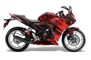 Honda CBR 250R Graphic Kit - 2010-2013 Carbon X Red