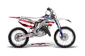 Honda CR125 Dirt Bike Graphic Kit - 1995-2015 Stars and Stripes Red White & Blue
