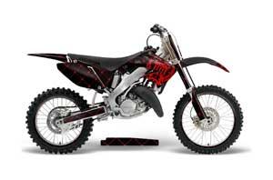 Honda CR250 Dirt Bike Graphic Kit - 1995-2015 Silver Star - Reloaded Red