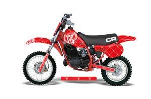 Honda CR60 Dirt Bike Graphic Kit - 1984-1985 Silver Star - Reloaded Red