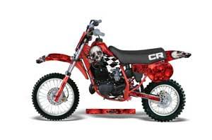 Honda CR60 Dirt Bike Graphic Kit - 1984-1985 Checkered Skull Red
