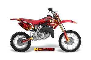 Honda CR85 Dirt Bike Graphic Kit - 2003-2007 Motorhead Mandy Red