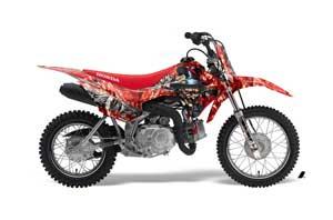 Honda CRF110 F Dirt Bike Graphic Kit - 2013-2018 Mad Hatter Red