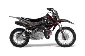 Honda CRF110 F Dirt Bike Graphic Kit - 2013-2018 Reaper Black
