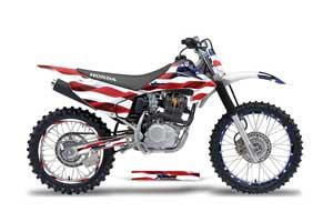 Honda CRF150 F Dirt Bike Graphic Kit - 2003-2007 Stars and Stripes Red White & Blue