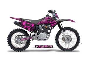 Honda CRF230 F Dirt Bike Graphic Kit - 2003-2007 Skulls and Hammers Pink