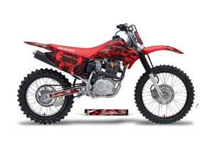 Honda CRF230 F Dirt Bike Graphic Kit - 2003-2007 Skulls and Hammers Red
