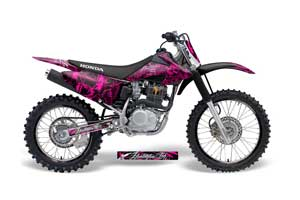 Honda CRF150 F Dirt Bike Graphic Kit - 2008-2014 Skulls and Hammers Pink