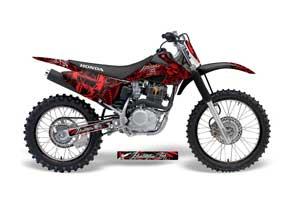 Honda CRF150 F Dirt Bike Graphic Kit - 2008-2014 Skulls and Hammers Red