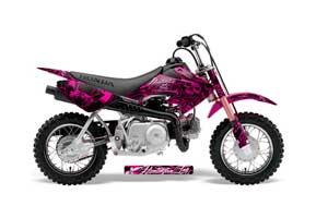 Honda CRF50 Dirt Bike Graphic Kit - 2004-2013 Skulls and Hammers Pink