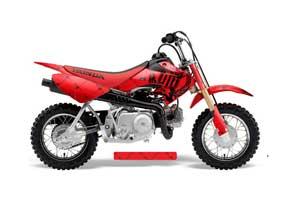 Honda CRF50 Dirt Bike Graphic Kit - 2004-2013 Silver Star - Reloaded Red