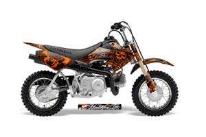 Honda CRF50 Dirt Bike Graphic Kit - 2004-2013 Skulls and Hammers Orange
