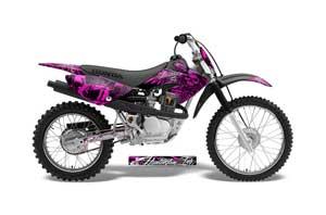 Honda CRF70 Dirt Bike Graphic Kit - 2004-2015 Skulls and Hammers Pink