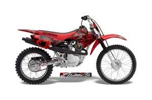 Honda CRF70 Dirt Bike Graphic Kit - 2004-2015 Skulls and Hammers Red