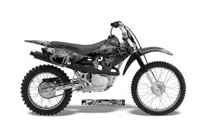 Honda CRF70 Dirt Bike Graphic Kit - 2004-2015 Skulls and Hammers SIlver