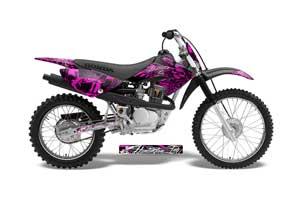 Honda CRF80 Dirt Bike Graphic Kit - 2004-2010 Skulls and Hammers Pink
