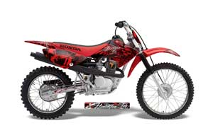Honda CRF80 Dirt Bike Graphic Kit - 2004-2010 Skulls and Hammers Red