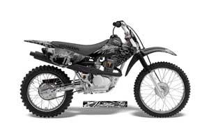 Honda CRF80 Dirt Bike Graphic Kit - 2004-2010 Skulls and Hammers Silver