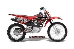 Honda CRF100 Dirt Bike Graphic Kit - 2004-2010 Mad Hatter Red