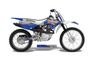 Honda CRF100 Dirt Bike Graphic Kit - 2004-2010 T Bomber Blue