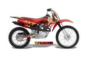 Honda CRF100 Dirt Bike Graphic Kit - 2004-2010 Motorhead Mandy Red
