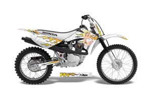 Honda CRF100 Dirt Bike Graphic Kit - 2004-2010 Motorhead Mandy White
