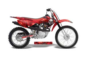 Honda CRF100 Dirt Bike Graphic Kit - 2004-2010 Bone Collector Red