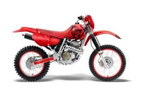 Honda XR400 Dirt Bike Graphic Kit - 1996-2004 Silver Star - Reloaded Red