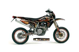 Husqvarna SM / SMR 450 / 530 Dirt Bike Graphic Kit - 2005-2010 Firestorm Black