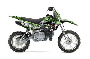 Kawasaki KLX110 Dirt Bike Graphic Kit - 2010-2016 Mad Hatter Green