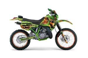 Kawasaki KDX200 Dirt Bike Graphic Kit - 1989-1994 Firestorm Green