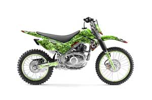Kawasaki KLX140 Dirt Bike Graphic Kit - 2008-2018 Bone Collector Green