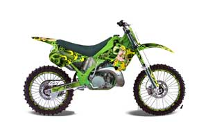 Kawasaki KX125 Dirt Bike Graphic Kit - 1990-1991 Motorhead Mandy Green