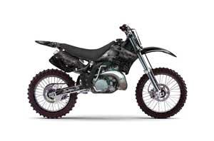 Kawasaki KX250 Dirt Bike Graphic Kit - 1992-1993 Skulls and Hammers Black