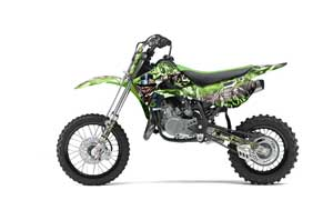 Kawasaki KLX110 Dirt Bike Graphic Kit - 2002-2009 Mad Hatter Green