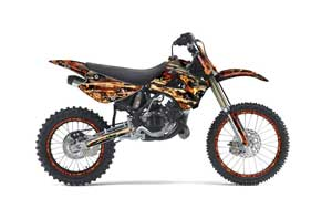 Kawasaki KX85 Dirt Bike Graphic Kit - 2001-2013 Firestorm Black