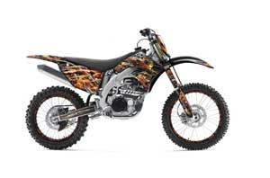 Kawasaki KXF450 Dirt Bike Graphic Kit - 2009-2011 Firestorm Black