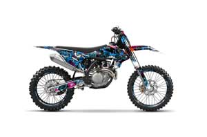 Yamaha WR250 Dirt Bike Graphic Kit - 1998-2002 Mad Hatter Blue Frenzy