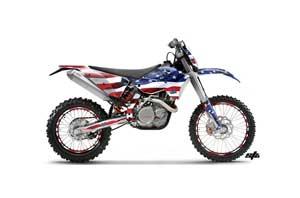 KTM C5 XC 125 / 525 Dirt Bike Graphic Kit - 2008-2010 Stars and Stripes Red White & Blue