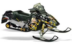 Ski Doo Rev Sled Graphic Kit - 2004-2012 Motorhead Mandy Black
