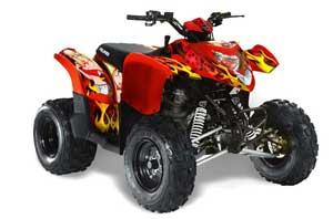 Polaris Phoenix 200 ATV Graphic Kit - 2005-2016 Motorhead Mandy Red
