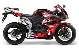 Honda CBR 600 RR Graphic Kit - 2007-2008 Carbon X Red