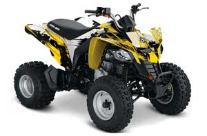 Can Am Bombardier DS250 ATV Graphic Kit - 2006-2016 Carbon X Yellow