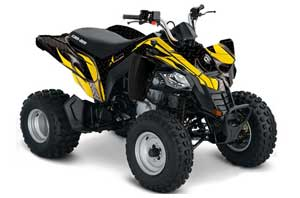 Can Am Bombardier DS250 ATV Graphic Kit - 2006-2016 Tribal Flames Yellow