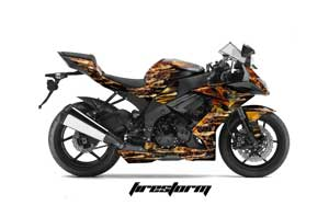 Kawasaki ZX10 Ninja Graphic Kit - 2008-2009 Firestorm Black